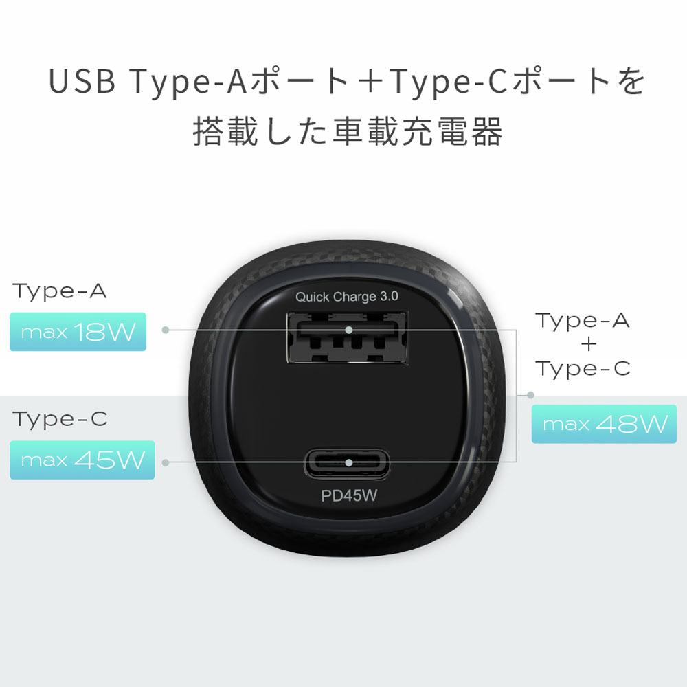 Quick Charge3.0対応のUSB Type-AポートとPower Delivery対応のUSB Type-Cポートを搭載した車載充電器