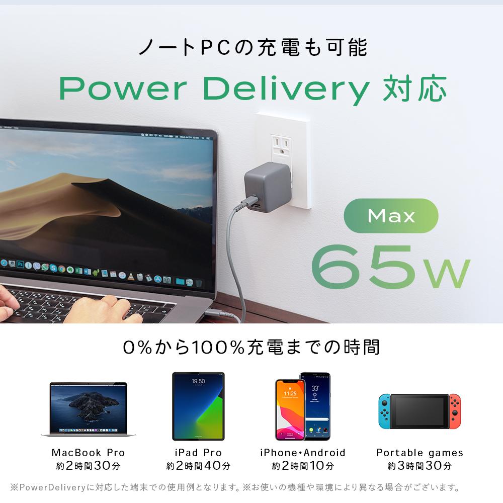 ノートPCの充電も可能 Power Delivery対応